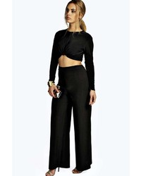 Boohoo Plus M High Waisted Slinky Palazzo Trouser