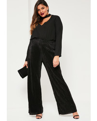 Missguided Plus Size Black Pleated Wide Leg Trousers