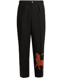Gucci Tiger Appliqu Wide Leg Wool Blend Trousers