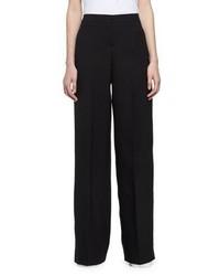 Alexander McQueen Wide Leg Wool Crepe Tuxedo Pants Black