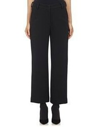 Helmut Lang Wool Pique Wide Leg Crop Trousers Colorless