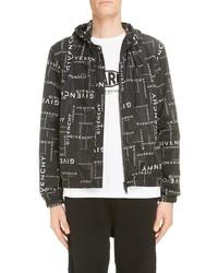Givenchy Allover Logo Hooded Nylon Jacket