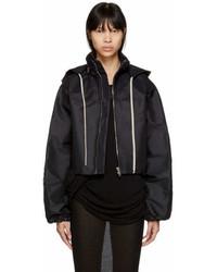 Rick Owens Black Cropped Windbreaker Jacket