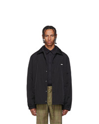 MSGM Black Nylon Patch Jacket