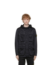 Stone Island Black Nylon Raso Tc Coat