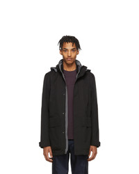 Z Zegna Black Soft Shell Bomber Coat