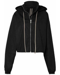 Rick Owens Cropped Hooded Cotton Canvas Jacket Black