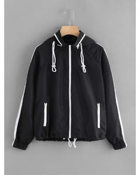 Romwe Drawstring Hem Detachable Hood Windbreaker Jacket