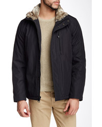 Andrew Marc Kips Bay City Rain Jacket With Faux Fur Collar