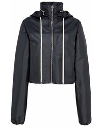 Rick Owens Retractable Hood Cropped Windbreaker Jacket