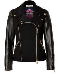 Black Wool Biker Jacket