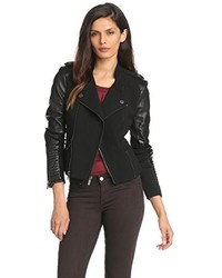 BCBGMAXAZRIA Donna Mixed Media Moto Jacket With Leather Sleeves
