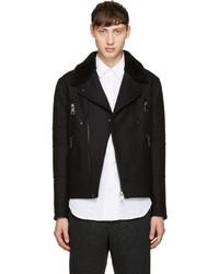 Neil Barrett Black Shearling Biker Jacket