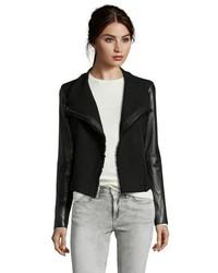 Vince Black Wool Blend Leather Detail Boucle Moto Jacket