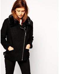 Asos Collection Biker Jacket In Textured Wool