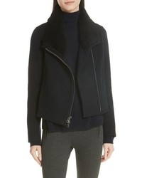 Vince Double Face Genuine Shearling Collar Jacket