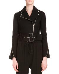 Givenchy Asymmetric Zip Belted Felt Biker Jacket Black