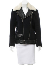Sandro Leather Trimmed Shearling Collar Jacket