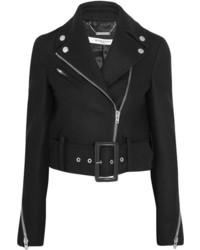 Givenchy Cropped Biker Jacket In Black Wool Blend Felt Fr36