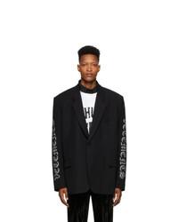 Vetements Black Gothic Logo Tailored Blazer