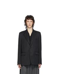Fumito Ganryu Black Watteau Pleat Tailored Blazer