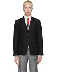Thom Browne Black Wool Grosgrain Trim Blazer