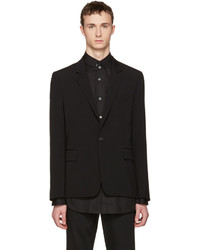 Ann Demeulemeester Black Wool Single Button Blazer