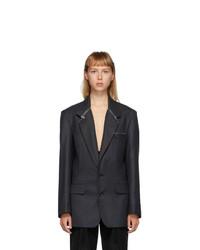 Situationist Black Wool Zip Detail Blazer