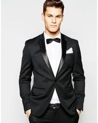 Asos Brand Skinny Tuxedo Suit Jacket In Black