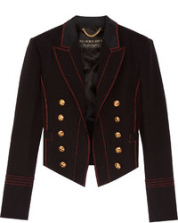 Burberry Double Breasted Wool Blend Twill Blazer Black