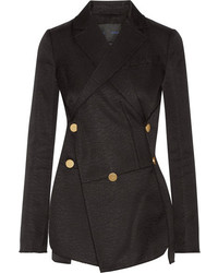 Proenza Schouler Cotton And Wool Blend Jacquard Blazer Black