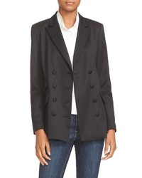 Frame Stretch Wool Double Breasted Blazer