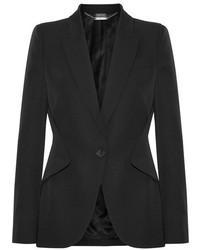 Alexander McQueen Grain De Poudre Wool Blazer Black