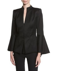 Alice + Olivia Ivana Mock Neck Waterfall Sleeve Wool Blazer