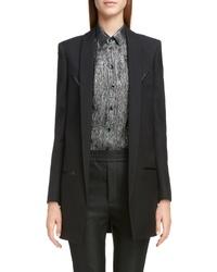 Saint Laurent Leather Arrow Wool Blazer