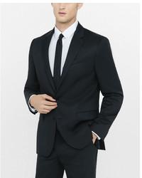 Express Modern Producer Black Wool Blend Twill Suit Jacket