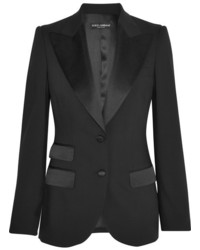 Dolce & Gabbana Satin Trimmed Stretch Wool And Silk Blend Blazer Black
