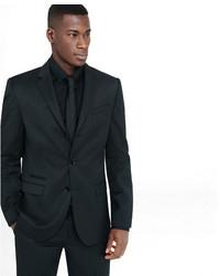 Express Slim Black Wool Blend Twill Suit Jacket