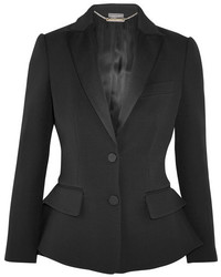Alexander McQueen Wool And Silk Blend Peplum Tuxedo Blazer Black