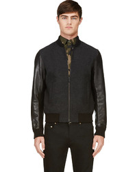 DSquared 2 Black Wool Leather Bastion Bomber Jacket