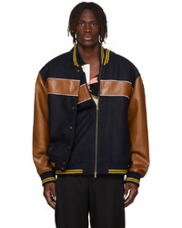 Y/Project Black Brown Double Stripe Bomber Jacket