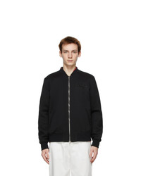 Alexander McQueen Black Wool Bomber Jacket