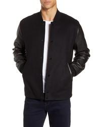 rag & bone Boulder Slim Fit Wool Blend Leather Jacket