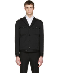 DSQUARED2 Black Wool Military Chic Bomber