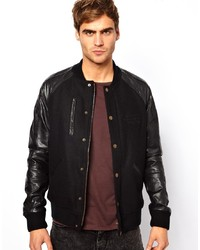 Jack & Jones Wool Bomber Jacket With Contrast Leather Sleeves