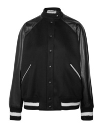 Valentino Leather And Appliqud Wool Blend Bomber Jacket