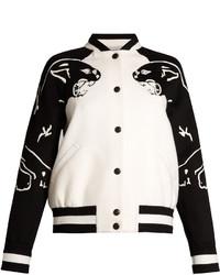 Valentino Panther Motif Wool Blend Bomber Jacket