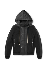 Rick Owens Shell And Leather Panelled Wool Fleece Hooded Jacket