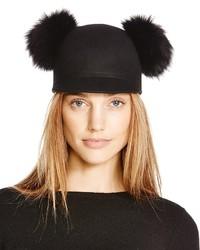 Bettina Wool Cap With Fox Fur Pom Poms