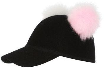 2c53d6f5d6d ... Black Wool Caps Charlotte Simone Sass Baseball Cap W Two Tone Fur Pom  Poms Blackpinkwhite ...